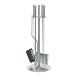 Blomus - Chimo 5 Pc Fireplace Tool Set with Round Hold - Includes brush, poker, tongs, shovel and round holder. Made of stainless steel. Designed by Andre Gilli. 1-Year manufacturer's defect warranty. 8.7 in. Dia. x 25.28 in. H