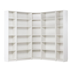 Billy Corner Combination, White - The Billy bookcase: There isn't a bad thing to be said about this fabulous series. I have owned a few and absolutely love them. You can choose from endless configurations, and there are so many great hacks for it too. You can even add doors or not. The possibilities really are endless. This is an affordable classic and a must buy for any home library.