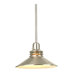 "Kichler - Contemporary Brushed Nickel  Mini-Pendant Chandelier - This contemporary mini-pendant from Kichler makes a great addition to any kitchen or pool table area. Sharp-looking brushed nickel finish. Takes one 150 watt bulb (not included). Measures 11"" wide 8"" high. Canopy measures 5"" wide. 4.5 lbs hanging weight.  Brushed nickel finish.  Design by Kichler lighting.  Takes one 150 watt bulb (not included).  Measures 11"" wide 8"" high.  Includes three 12"" stems.  Canopy measures 5"" wide.  4.5 lbs. hanging weight."