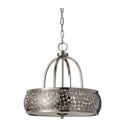 """Murray Feiss - Murray Feiss F2737-4BS Zara 19-1/4"""" 4 Light Chandelier in Brushed Steel F2737-4B - Zara 19-1 4"""" 4 Light Chandelier.Lamping: 4- Edison 60 WattBulb Included: No Bulb Type: Incandescent Canopy: 7 8'' x 5-1 8'' Round Chain Length: 60 Collection: Zara Cord Color: Clear Silver Finish: Brushed Steel Height: 19-1 4 Material: Steel Number of Lights: 4 Safety Rating: cUL Dry Shade Glass: Silver Organza Fabric Type: Non Crystal Chandeliers Voltage: 120 Wattage: 240 Width: 19 Wire Cord Length: 180"""