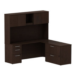 "Bush - Bush 300 Series 72"" L-Shape Desk with 4-Door Hutch in Mocha Cherry - Bush - Commercial Grade Office - 300S069MR - Surround yourself with stately elegance and efficiency when making your own custom reception area via the BBF Natural Maple 300 Series 72""W x 72""D Reception L-Desk (F/F and B/B/F). The 72""W Reception L-Desk lets you spread out in two directions on its ample work surface. Two box drawers hold supplies and one file drawer accommodates letter- legal- or A4-size files on one side. Two file drawers offer additional storage on other side of L-Desk. 14-inch high reception counter serves as a comfortable place for clients or visitors to stand. Built in cubby runs the length of both ""L's"" and hides unsightly clutter. Desktop grommets provide easy access and concealment of unsightly wires, cords or cables. Diamond Coat (TM) top surfaces are scratch/stain resistant. Tough edge banding resists dents, dings and nicks. Natural Maple finish complements any office decor and matches other 300 Series pieces."