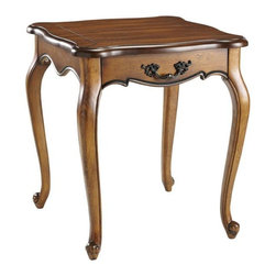 Home Decorators Collection - Provence End Table - The Provence End Table with its subtly carved top and scrolled foot design, works well with a variety of furniture styles. This charming end table will be a welcome addition to your home decor. Buy two and complete your living room ensemble. Choose from a wide range of color combinations with gently distressed solid colors. Exceptionally designed in hearty poplar wood with delicately scrolled metal drawer pull.