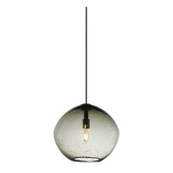 """LBL Lighting - LBL Lighting Mini Isla Smoke 35W Monopoint 1 Light Mini Pendant - LBL Lighting Mini Isla Smoke 35W Monopoint 1 Light Mini PendantWith a handmade organic look that is unique to each fixture, this Monopoint pendant features an irregular shaped hand blown seeded glass globe surrounding a 35 watt xenon lamp. Due to the handmade nature of this fixture, each piece is a unique work of art that will add style and character to your home.Each Monopoint System lighting fixture includes a 4"""" diameter single-point canopy with built-in transformer for a quick and easy installation.LBL Lighting Mini Isla Smoke 35W Monopoint Features:"""