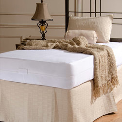 None - Rest Assure Waterproof Cotton Mattress Encasement - Designed to protect mattresses against spills, accidents and stains, this twin-size mattress encasement from Rest Assure features a soft surface. Constructed to cover all six sides of the mattress, this encasement is both waterproof and breathable.
