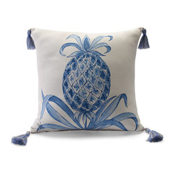 Frontgate - Royal Pineapple Blue Outdoor Pillow - 100% solution-dyed acrylic fabric. Resists fading, mold and mildew. High-density polyester fill. Spot clean with mild soap and water; air-dry only. Zipper closure. The Royal Pineapple Air Blue Outdoor Pillow will cheerfully welcome guests to your outdoor area with its hand-painted symbol of hospitality in soft blue tones. Accented with tassels at each corner and constructed of all-weather acrylic, this lovely pillow will hold its color and shape through seasons of use.  .  .  .  .  . A Frontgate exclusive . Made in the USA.