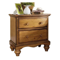 Hillsdale Furniture - Hillsdale Hamptons 2-Drawer Nightstand in Weathered Pine - Rich in quality and design, Hillsdale Furniture's Hamptons bedroom collection boasts a dynamic weathered pine finish that accentuates the cozy cottage feel. The graceful lines of the sleigh bed are enhanced by a planked design, while classic bun feet and a scalloped base on the case pieces add a traditional charm that will work with many home decors. Case pieces include: nightstand, dresser, mirror, chest, or TV chest. Solid pine construction. Assembly required.