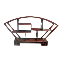 Golden Lotus - Chinese Medium Brown Fan Shape Display Curio Cabinet - This is a display stand in larger size for displaying on a table top.