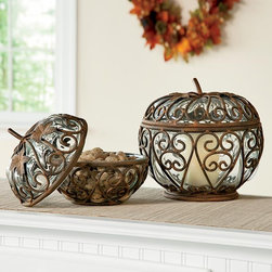 Small and Large Iron & Glass Pumpkins - A few seasonal pieces add a nice touch. These iron and glass pumpkins would look lovely.