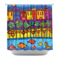 DiaNoche Designs - Shower Curtain Artistic - Fishing Village - DiaNoche Designs works with artists from around the world to bring unique, artistic products to decorate all aspects of your home.  Our designer Shower Curtains will be the talk of every guest to visit your bathroom!  Our Shower Curtains have Sewn reinforced holes for curtain rings, Shower Curtain Rings Not Included.  Dye Sublimation printing adheres the ink to the material for long life and durability. Machine Wash upon arrival for maximum softness. Made in USA.  Shower Curtain Rings Not Included.