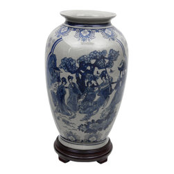 "Oriental Furniture - 14"" Ladies Blue & White Porcelain Tung Chi Vase - High shouldered ""tung-chi"" style Chinese porcelain flower vase decorated with a classic Ming dynasty style blue and white imperial court courtesan art motif. Beautiful decorative accessory when displayed individually or in pairs. Perfect for both traditional and contemporary home or office decor."