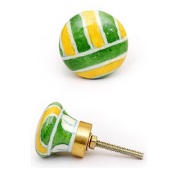 """Knobco - Plaids and Stripes, Green, yellow and white - Green, yellow and white decorative cabinet hardware from Jaipur, India. Unique, hand painted cabinet knobs for your kitchen cabinets. 1.5"""" in diameter. Includes screws for installation."""