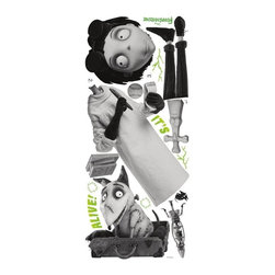 """RoomMates Peel & Stick - Frankenweenie Giant Wall Decals - It's alive! Give your child's room some """"shock"""" value with these giant wall decals of Victor and Sparky from Disney's Frankenweenie. These oversized wall graphics will delight fans of the film and add fun to any blank wall or space. The decals can be used for temporary decorating or year-round."""