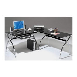 Techni Mobili L-Shaped Glass Computer Desk - Black/Chrome - The space-saving Techni Mobili L-Shaped Glass Computer Desk - Black/Chrome is a stylish way to customize your workspace. Just tuck this corner desk away in the corner and you'll be able to utilize every inch of space at work or in your home office. It's a modern desk made with black glass panels and a chrome frame that's very sleek. A handy keyboard tray slides in and out effortlessly from under the tabletop so you won't waste any of the table's work surface. This desk is easy to assemble About RTA Products RTA Products located in Miramar Fla. is focused on creating producing and distributing high-quality products. Their stellar combination of price quality and service continually exceeds the expectations of customers and consumers. Many products are subjected to independent tests separate from the company ensuring each item is developed with the customer in mind.