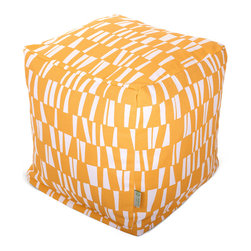 Majestic Home - Outdoor Citrus Sticks Small Cube - Versatile, casual and fun, beanbag ottoman cubes are great to have around the house for all kinds of impromptu uses, from footstools to extra seating to side tables. With it's playful modern style and durable, washable cover, this small patterned cube should work for you just about anywhere you need it, indoors or out. You'll wonder what you ever did without it.