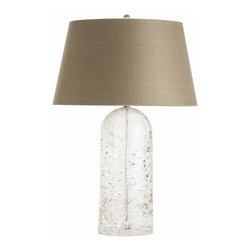Arteriors - Fresno Lamp - This lamp's crystalline clear glass base is artfully flecked with taupe and moss green speckles for a hint of natural color and texture. The tapered tan shade picks up those subtle specks of color and adds a soothing, earthy aura to contrast the smooth, clear glass. It would make a beautiful option for your transitional home, especially if your home features light, neutral colors.