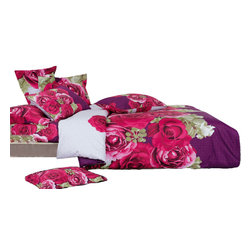Le Vele - Le Vele - Wish, Duvet Cover Sheet Set Bed in a Box, Full/Queen Beddding LE234Q - Decorate your bedroom with beautiful pink roses on dark purple and white background. The vivid colors of the roses create a refreshing effect.