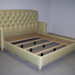 Custom Design Upholstered Furniture - Queen size Platform Bed in Linen. Hand Tufted Headboard