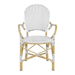 Safavieh - Hooper Indoor-Outdoor Stacking Armchair - Grey&White - The beloved European bistro chair assumes a coastal cottage vibe in the grey and white Hooper indoor-outdoor stacking armchair by Safavieh. The cheerful woven PE wicker seat and back extends to pretty wrap detailing on the faux bamboo frame of this classically styled chair.
