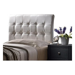 Hillsdale Furniture - Hillsdale Lusso Headboard in White Faux Leather - King - Modern and streamlined the Lusso Bed brings together straightforward shape and sleek textures. The Lusso's tufted rectangular headboard and base are available in both contemporary black or white faux leathers. Available in twin full queen and king sizes. Requires a mattress and box spring. Some assembly required.