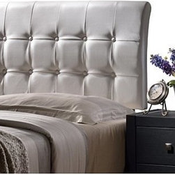Hillsdale Furniture - Hillsdale Lusso Headboard in White Faux Leather - Full - Modern and streamlined the Lusso Bed brings together straightforward shape and sleek textures. The Lusso's tufted rectangular headboard and base are available in both contemporary black or white faux leathers. Available in twin full queen and king sizes. Requires a mattress and box spring. Some assembly required.