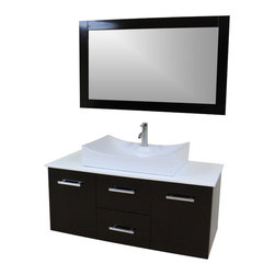 "Modern Contemporary Bathroom Vanity *WALL MOUNT*, Espresso, 47"" - Cabinet is made out of  Pure Oak Wood"