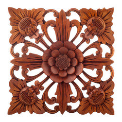 Brilliant Imports - Flower Wall Square, Stained Wood, Small - Enhance your room with a little flower power by bringing the lush flowers of Bali to you.  Comes in 3 colors & 3 sizes -- perfect to create patterns that bloom on your wall.  Delicately carved in Waru wood, traditional stain. Small.