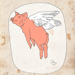 Artollo - Kids Room Wall Art Flying Pig A2 - 16.5x23.3 - Gallery quality paper print from hand drawn original, frame not included