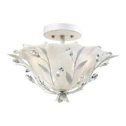 Elk Lighting - Elk Lighting 18111/2 2- Light Semi-Flush in Antique White - 2- Light Semi-Flush in Antique White belongs to Circeo Collection by The Magnetic Influences Of This Winter Garden Collection Is The Intertwined Branches Accented By Delicately Cradled Crystals That Resemble Frozen Water Droplets. This Collection Is Featured In A Deep Rust Finish. Flush Mount (1)
