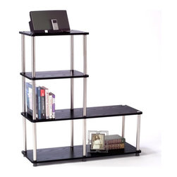 Convenience Concepts - Multi Shelf L-Shape Bookshelf in Black Finish - Sturdy 16 mm thick particle board with woodgrain melamine veneer shelves. 22 mm stainless steel clad posts for strength. Limited warranty. Assembly required. Shelf Weight Capacity: 20 lbs. 31.5 in. W x 11.8 in. D x 41.7 in. H (24 lbs.)