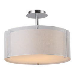 """IFN Modern - Speculant Mesh Drum Pendant in White - This home decor lighting pendant lamp has a 17.72"""" wide cylindrical glass shade which encloses 60W incandescent bulbs (sold separately) to spread light throughout the room. The shade is covered with iron mesh for protection.â— Metal & Glassâ— Comes in Whiteâ— Incandescent 60 Watt Bulb (Not Included)â— 6lbsâ— 110 Voltsâ— 50"""" Cordâ— Shade Diameter - 18"""""""