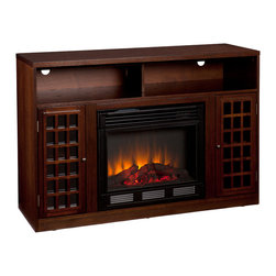 Holly & Martin - Akita Media Electric Fireplace, Espresso - Contemporary styling, modern conveniences and the relaxing glow of fire are all combined into this luxurious piece. Finished with a rich espresso stain, the firebox itself is framed in by a cabinet with an adjustable shelf on each side. Above is an open shelf, divided in two by the center support structure. The open shelf includes two rear openings, one in each section, for cord management making it ideal for all of your media equipment or game consoles. Portability and ease of assembly are just two of the reasons why our fireplace mantels are perfect for your home. Requiring no electrician or contractor for installation allows instant remodeling without the usual mess or expense. Use this great functional fireplace to make your home a more welcoming environment.