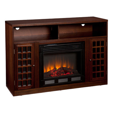 rich espresso stain, the firebox itself is framed in by a cabinet ...