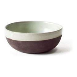 18KARAT - Brown Terra Bowls - The Terra kitchen collection speaks of the earth with raw clay left exposed on the bottom of each piece. A loosely applied light mint glaze finishes the pieces making them durable, microwave safe and dishwasher safe.