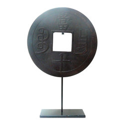 Golden Lotus - Chinese Round Stone Disc Fengshui Display Decor Hcs580-7 - This is a stone carved round shape decoration display on a metal stand. Round symbolizes complete, smooth and harmony. Stone is one of the five element - earth.