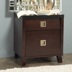 Domusindo - angelo:HOME Marlowe Charging Station Nightstand - Crafted from solid tropical mahogany wood and cherry wood veneer,this nightstand features a built-in power outlet for your convenience. Satin nickel pulls and full-extension ball bearing drawer glides complete this nightstand.