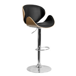 Flash Furniture - Beech Bentwood Adjustable Bar Stool with Curved Black Vinyl Seat and Back - Beautiful and elegant describe this bentwood style barstool with a comfortably padded seat. This stool is complemented with a comfortable vinyl padded seat pad and a height adjustable swivel seat that adjusts from counter to bar height with the handle located below the seat. The base and footrest have a chrome finish to complement the chair's modern design.