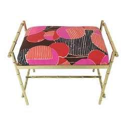 Brass Faux Bamboo Stool with Vintage Fabric - Sit pretty atop this gorgeous vintage brass faux bamboo stool. Perfect for a vanity or dressing room, this glamorous stool features a fabulous vintage fabric seat cushion and shiny brass!