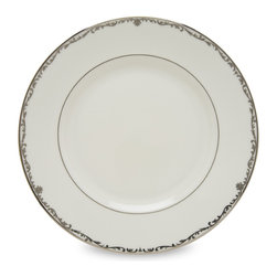 Lenox - Lenox Coronet Platinum Dinner Plate - This Lenox dinner plate is regal,sophisticated and crowned with a delicate scroll motif. With faux etch detailing,this elegant Coronet Platinum dinner plate is crafted in the brilliance of Lenox white bone china and rimmed with precious platinum.