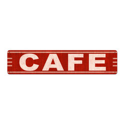 The Vintage Sign Store - Cafe Steel Sign - Cafe Food and Drink Red Vintage Metal Sign 28 X 6 Steel Not Tin. From the Retro Planet licensed collection, this Cafe metal sign measures 28 inches by 6 inches and weighs in at 2 lb(s). This metal sign is hand made in the USA using heavy gauge american steel and a process known as sublimation, where the image is baked into a powder coating for a durable and long lasting finish. This metal sign is drilled and riveted for easy hanging.