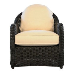 Lloyd Flanders Cottage All-Weather Wicker Lounge Chair - Bing classic charm to your patio, deck or outdoor space with the Lloyd Flanders Cottage All-Weather Wicker Lounge Chair. This handsome dining chair is a smart and stylish blend of classic patio styling with the latest in all-weather technology, for a piece of furniture you can relax in and enjoy the sunshine for years to come. Constructed from durable resin wicker and sturdy aluminum, this chair is designed to withstand harsh weather conditions without requiring much maintenance.The classic style creates a timeless aesthetic that illustrates the simple qualities of wicker and the sleek midnight finish adds a modern flare to an already chic piece. The plush, deep comfort cushion is available in a variety of colors, so you can choose the hue that best complements your home. The classic contours of this piece provide a tone that calms any space.About Lloyd/FlandersCarrying on the traditions of Marshall B. Lloyd, Lloyd/Flanders brings the sophistication of timeless furniture designs to a sophisticated, modern audience. Using modern production processes and materials, these classic styles are faithfully rendered in a way that can be enjoyed by customers anywhere with high-quality construction and reliable, all-weather designs.