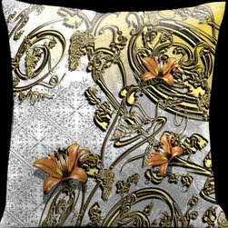 Lama Kasso - Como Gardens White to Yellow with Antique Gold Vines and Orange Accents 18 x 18 - -Satin Lama Kasso - 108