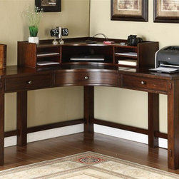 Riverside Furniture - Castlewood Curved Corner Desk and Hutch - Includes desk and top hutch. Three drawers with dovetail construction, ball bearing extension guides, and felt-lined bottoms. Center drawer has a removable pencil tray. Base levelers. Removable shelf in each outside storage area. Wiring access hole with grommet and cap in top panel an. Constructed of random thickness, physically distressed Mindi hardwood solid top, and Mindi veneer, with a synthetic leather insert in center top panel. Finish: Warm Tobacco. Distress Level: Heavy. Assembly Required. Desk: 62 in. W x 62 in. D x30.5 in. H ( 223 lbs. ). Hutch: 38 in. W x 38 in. D x9 in. H ( 51 lbs. )