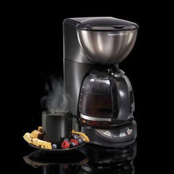 Hamilton Beach 49757 Black Ice Metal Collection 12 Cup Coffee Maker - Start your day with a bang by rocking out your favorite java in the Hamilton Beach 49757 Black Ice Metal Collection 12 Cup Coffee Maker. This coffee maker has a heavy name but actually boasts a space-saving design. Its 12-cup glass carafe keeps you caffeinated all morning while features like auto shut off, pause and serve, and a programmable timer make it a welcome band mate to your morning gig.About Hamilton BeachOne of the country's leading distributors of small kitchen appliances, Hamilton Beach Brands, Inc. sells over 35 million appliances every year. The company's most famous brands -- Hamilton Beach, Eclectrics, Proctor Silex, and TrueAir -- are found in households across America, Canada, and Mexico. Hamilton Beach takes immense pride in their product quality, wide variety of options, superior customer service, and brand name strength and remains committed to serving customers through Good Thinking applied to the style and function in all of their small electric appliances.