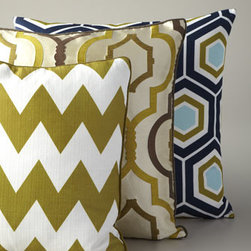 "Horchow - Green & Navy Hex Pillow - Graphic designs and bold colors add visual impact to these handcrafted pillows. Feather/down inserts. Zipper closures. Golden honeycomb pillow has a polyester/cotton front with rayon/silk back; 20""Sq. Chevron pillow has a polyester front with rayon/..."