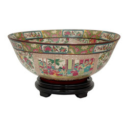"Oriental Furniture - 14"" Rose Medallion Porcelain Bowl - Large decorative painted bowl. Constructed from high quality, high temperature fired Chinese porcelain. Features hand applied images of an Asian courtyard scene, surrounded by a bright Oriental fruit and floral motif pattern, that is fired onto the porcelain in a kiln. The porcelain is finished with a medium gloss crackle glaze. Use as a decorative display for potpourri, fruit, or candies, or on a pedestal stand as a purely decorative bowl."