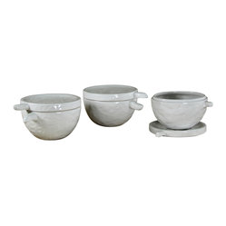 Handmade Bowls with Lid, Set of 3