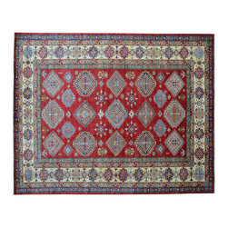 Area Rug, Tribal Design Super Kazak 100% Wool 7'X10' Hand Knotted Rug SH11861 - This collections consists of well known classical southwestern designs like Kazaks, Serapis, Herizs, Mamluks, Kilims, and Bokaras. These tribal motifs are very popular down in the South and especially out west.