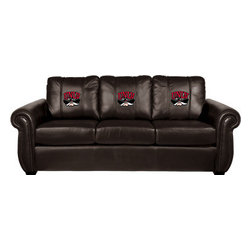 Dreamseat Inc. - UNLV NCAA Chesapeake Brown Leather Sofa - Check out this Awesome Sofa. It's the ultimate in traditional styled home leather furniture, and it's one of the coolest things we've ever seen. This is unbelievably comfortable - once you're in it, you won't want to get up. Features a zip-in-zip-out logo panel embroidered with 70,000 stitches. Converts from a solid color to custom-logo furniture in seconds - perfect for a shared or multi-purpose room. Root for several teams? Simply swap the panels out when the seasons change. This is a true statement piece that is perfect for your Man Cave, Game Room, basement or garage.