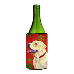 Caroline's Treasures - Labrador Red and Green Snowflakes Wine Bottle Koozie Hugger - Labrador Red and Green Snowflakes Holiday Christmas Wine Bottle Koozie Hugger Fits 750 ml. wine or other beverage bottles. Fits 24 oz. cans or pint bottles. Great collapsible koozie for large cans of beer, Energy Drinks or large Iced Tea beverages. Great to keep track of your beverage and add a bit of flair to a gathering. Wash the hugger in your washing machine. Design will not come off.