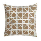 Horchow - Jute European Sham w/ Cane Embroidery - Textural intrigue in every piece. White linens are made of cotton; machine wash or dry clean. Natural-tone accessories with white detail are jute and polyester; dry clean. Cane design is hand embroidered. Pillows with pleated designs include the ob...